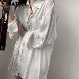 E-BAIHUI Chic Solid Shirts Long Sleeve Blouse Plus Size Shirts Oversize White Blouse Maxi Boyfriends Chemisier