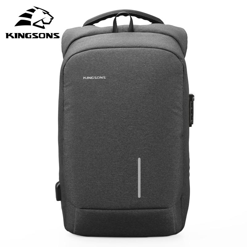 Kingsons1515mochilas portáteis com usb externo de carregamento à prova dwaterproof água sacos para homem e mulher bolsa de computador de viagem de negócios anti-thef