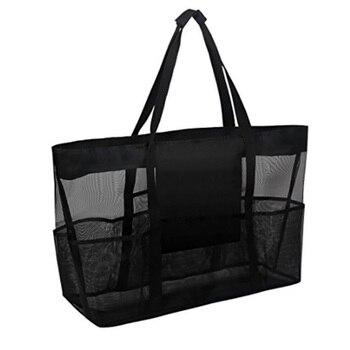 Grand sac de plage en maille noir