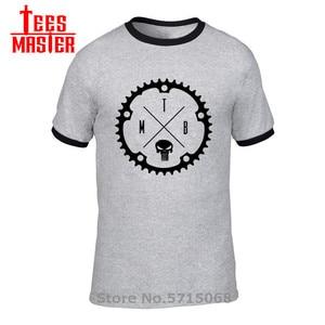 Мужская футболка с черепом и логотипом MTB, футболка с Горным байкером и эндуро, XC велосипедная футболка с цепочкой, велосипедная футболка BMX ...