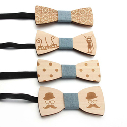 Bow Ties For Men Collar Flower Fashion Bowknot Wooden Tie Smooth Collar Retro Wooden Neck Ties Adjustable Strap Vintage Bowtie