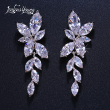 2018 Fashion Leaf Zircon Drop Earrings for Women White Gold Color Crystal Wedding Earrings Bridal Jewelry Gift brinco(China)