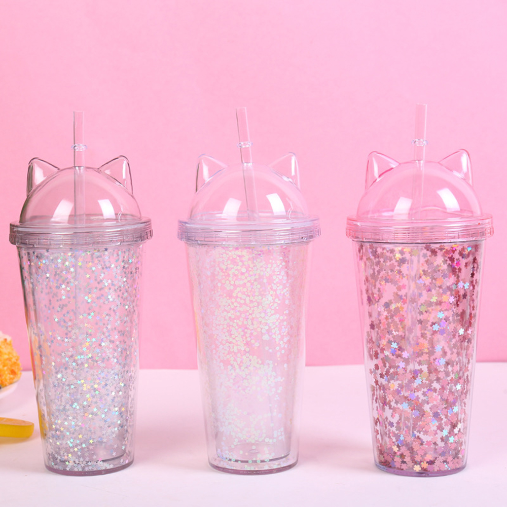 Plastic BPA Water Bottle with Straw Glitter Flash Cat Ear Double Wall Drinking Drinkware Coffee Juice Cup|Water Bottles| |  - AliExpress