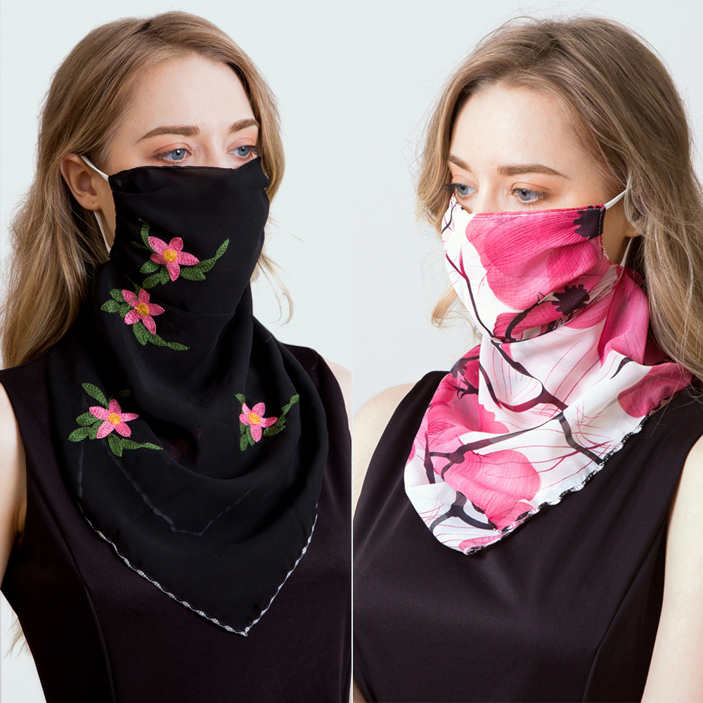 2020 Newest Chiffon Face Mask Scarf Women Sun Protection Masks Outdoor Riding Mouth Scarves Ring Wraps