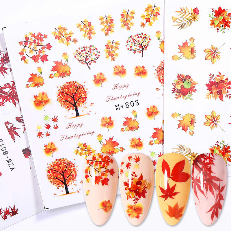 Jatuh Kuning Emas Stiker untuk Kuku Marple Daun Slider Decals Air Seni Kuku Musim Gugur Bahasa Polandia Membungkus Dekorasi