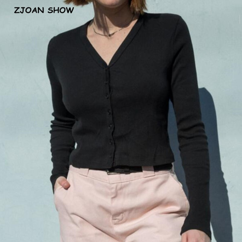 2020 Women Knitting Single-breasted Cropped Cardigan Sweater Vintage V neck Exposed navel Short Knitwear Long sleeve Jumper Tops