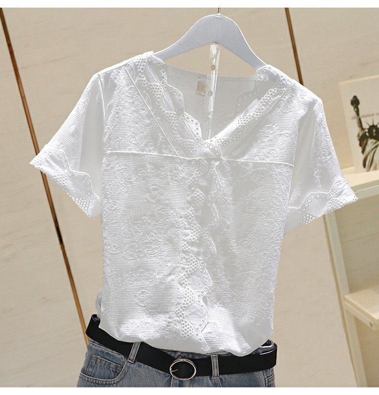 lace cotton women blouse 2020 summer new v-neck long-sleeved slim solid lady elegant pulls tops top quality