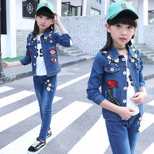 3-14 Years Girl Clothes Spring Autumn Girls Embroidery Denim Coat Kids Clothing Girls Jean Jacket girls dog embroidery jacket