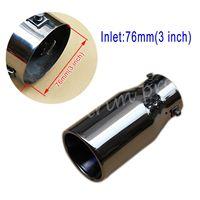 Universal de aço 76mm 3 Polegada entrada silenciador da cauda escape tubo traseiro ponta fim capa acessórios decoração
