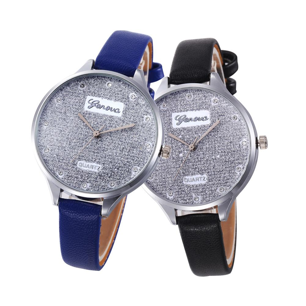Candy Color Faux Leather Slim Band Glitter Dial Shiny Rhinestone Women Watch Lovers Watch Male Female Пара смотреть 커플 시계