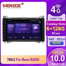 MEKEDE-Radio con GPS para coche unidad principal para coche Mercedes Benz B200, Clase A, B, W169, W245, Viano, Vito, W639, 1280x720, pantalla QLED 6 + 128G