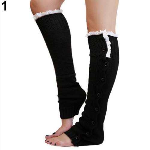 1 çift kadın tığ işi bot paçaları örgü Toppers Boot çorap kış bacak ısıtıcıları Calcetines Mujer yeni 2019
