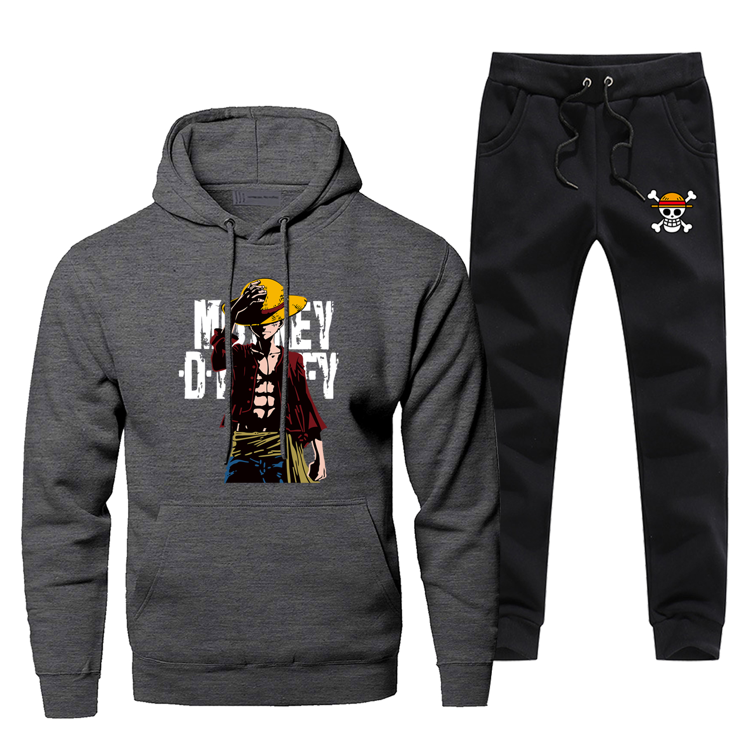 Japan Anime One Piece Monkey D Luffy Sweatshirts Hoodie Harajuku Male Set Casual Men's Jogging Winter Bodywarmer Men's Sweatsuit
