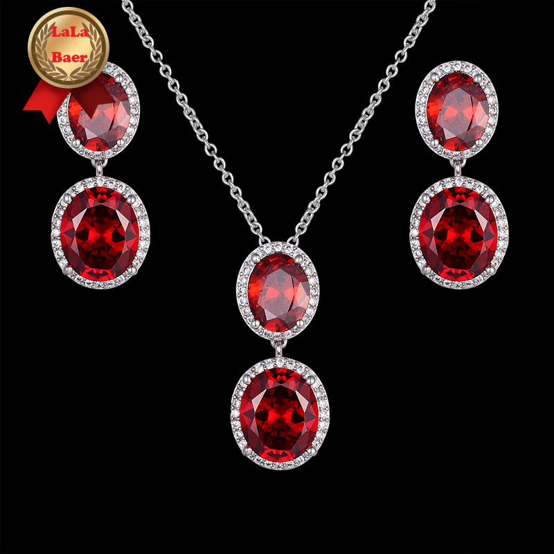 Earrings-Sets Necklace Silver Gold Wedding 2pcs Women for Red Semi-Precious