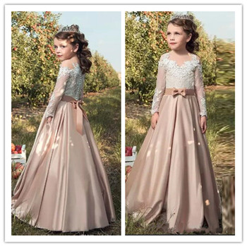 Knot Bow Buttons Back Top Lace Full Sleeves Flower Girl Dresses For Wedding Vintage Little Girl Pageant Dresses