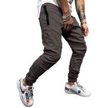 2019 outono nova moda masculina streetwear calças de treino de algodão dos homens calças de brim