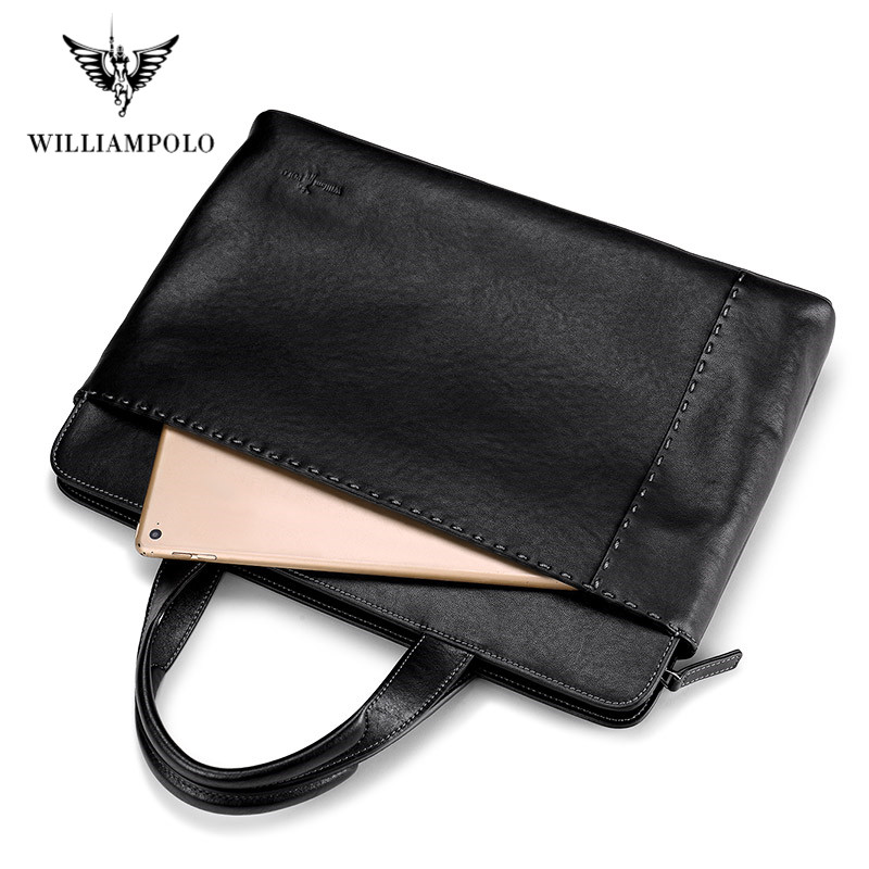 WilliamPolo New Men's Leather Business Briefcase Casual Men's Shoulder Bag Messenger Bag Men's Laptop Handbag Men's Travel Bag