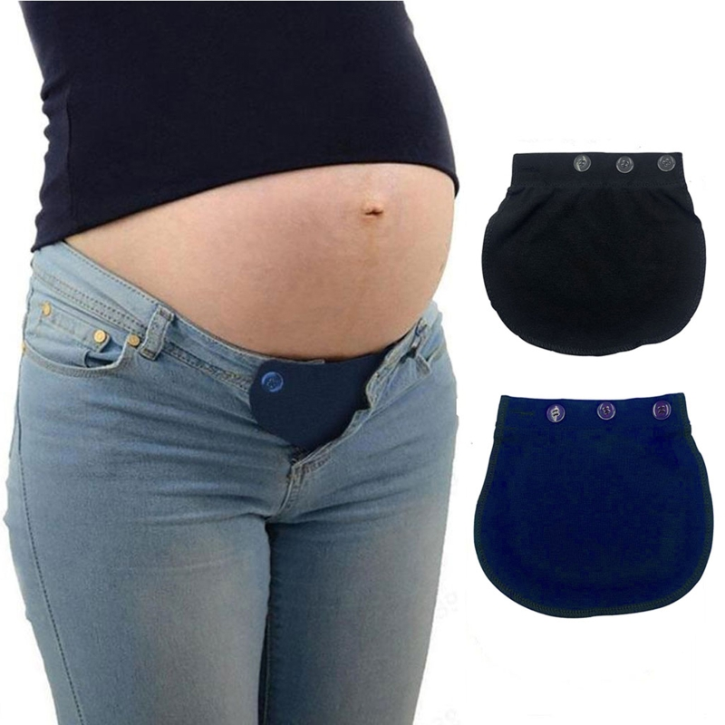 Maternity Pregnancy Waistband Belt Soft Adjustable Elastic Pants Lengthening Waist Extenders Button Mother Loose Pants Belt