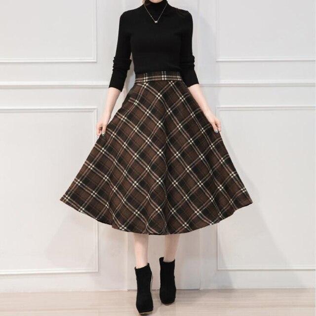 Neophil England Style Red Plaid High Waist Midi Skirts Woolen Plus Size 3XL A Line Pleated 2019 Winter Women Tartan Skirts S1735 6