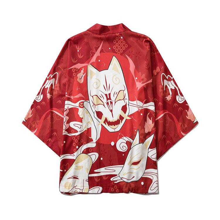 Red Print Yukata Hip Hop Men Robe Gown Harajuku Male Kimono Cardigan Street Style Casual Kimono Shirt Japanese Style Kimono