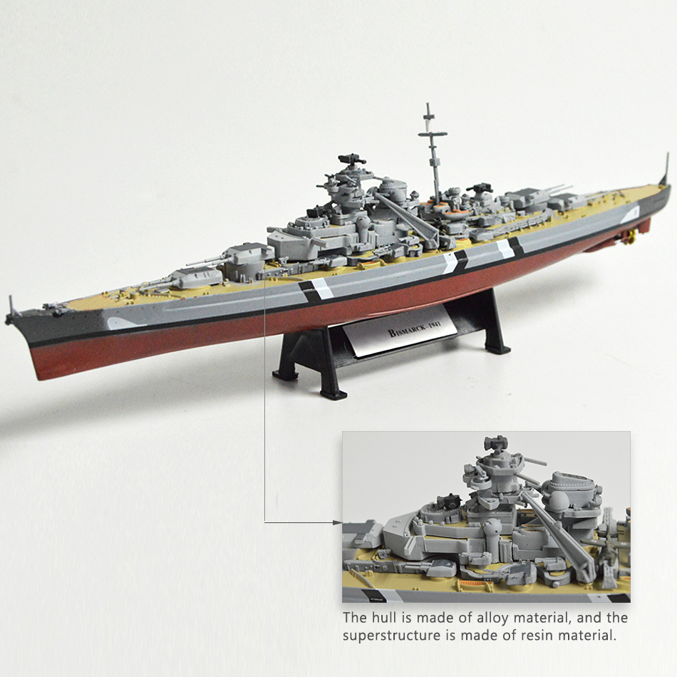 1:1000 World War II Ship Model Battleship Model Ship Bismarck USS Missouri HMS Hood Alloy Finished Handcraft Collection