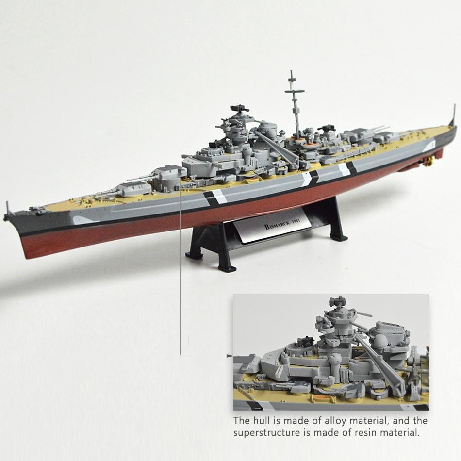 1:1000 World War II Ship Model Battleship Model Ship Bismarck USS Missouri HMS Hood Alloy Finished Handcraft Collection