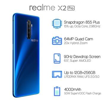 In Stock Global Version Realme X2 Pro 8GB 128GB 6.5'' Smartphone Snapdragon 855 Plus 64MP Quad Camera 90Hz Display NFC 50W VOOC 1