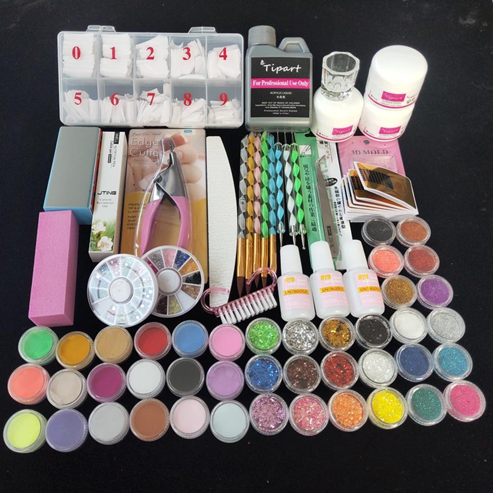 Professional 42 Acrylic Liquid Powder Glitter Clipper Primer File Nail Art Tips Tool Brush Tools Set Kit new 1