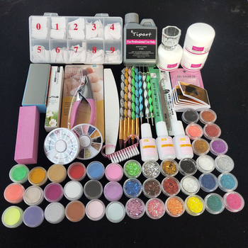 Professional 42 Acrylic Liquid Powder Glitter Clipper Primer File Nail Art Tips Tool Brush Tools Set Kit new