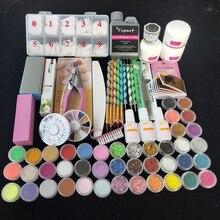 Professionelle 42 Acryl Flüssigkeit Pulver Glitter Clipper Primer Datei Nail art Tipps Tool Pinsel Werkzeuge Set Kit neue
