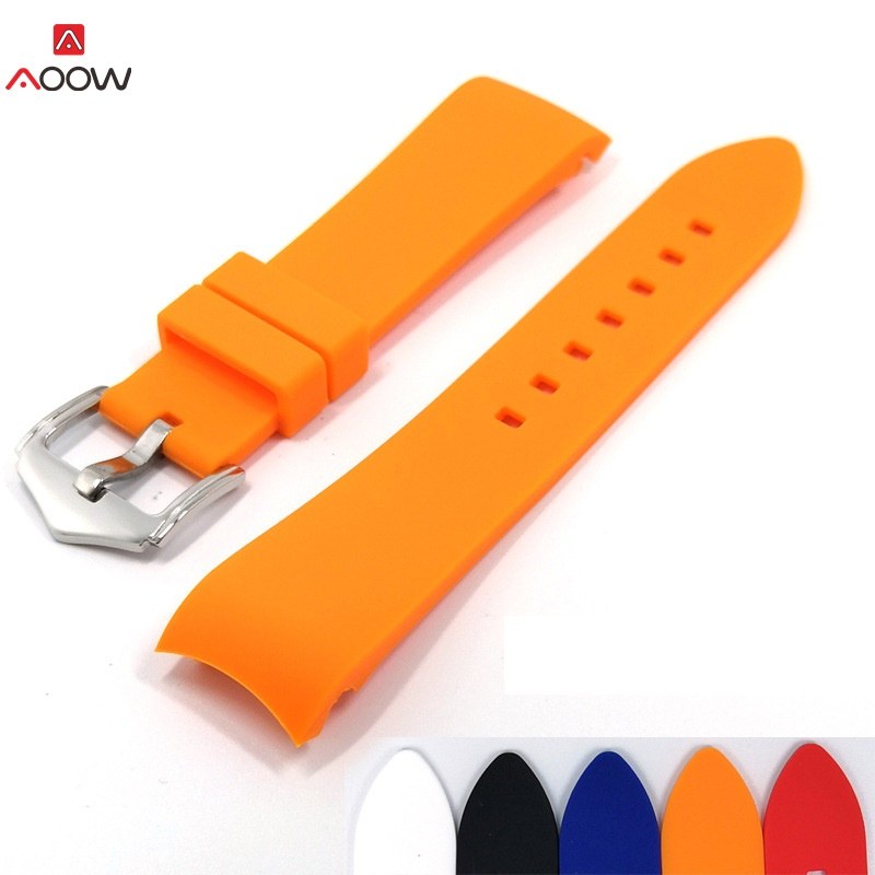 AOOW Silicone Strap Men's Watch Accessories 18mm 20mm 22mm Arc Mouth Replacement Watchband Bracelet Watch Accessories