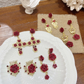 MENGJIQIAO Vintage Palace Stil Gold Rote Blume Tropfen Ohrringe Pendientes Mujer Moda Elegante Gold Farbe Metall Herz Schmuck Geschenke