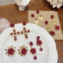 MENGJIQIAO Estilo Vintage palaciego rojo oro rojo con oro rojo Pendientes colgantes de flor Pendientes para Mujer de Moda elegante de Color oro de corazón de Metal, regalos de joyas