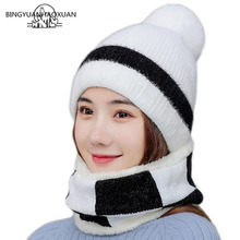Hot Cap Kit Brand New Girl Skiing Cap Big Fur Ball Lining Knitted Wool Hats and Scarf Women Winter Warm Knitted Scarf Hat 7 Colo