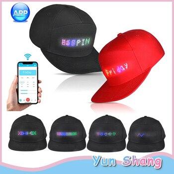 Светодиодный головной убор для вечерние Bluetooth светодиодный головной убор Программируемый Прокрутка доски для отображения сообщений бейсб...