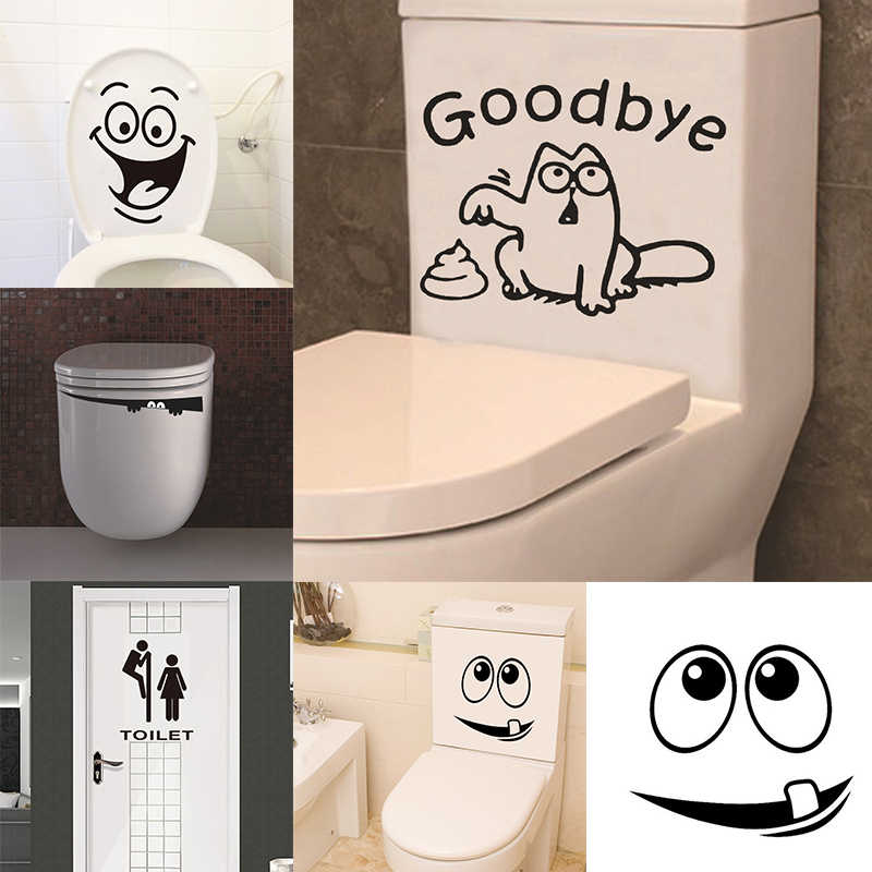 Seat Bath Toilet Bathroom Washroom WC Decal Sticker Waterproof Home Art Mural for Toilet Bowl Toilet Stickers Funny
