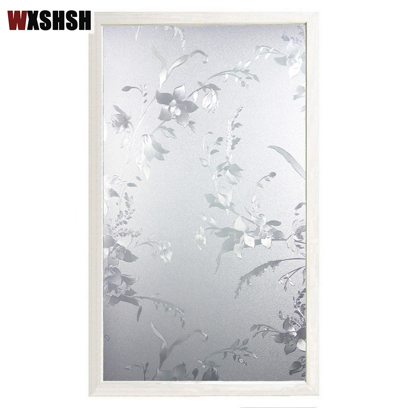 Window Film Static Cling PVC Flower Pattern Private Explosion-Proof Frosted Decorative Glass Foil For Window Door Table Cabinet
