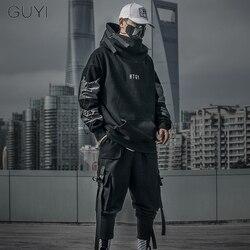 Мужская толстовка в японском стиле с надписью, пуловер в стиле Харадзюку в стиле хип-хоп, повседневный пуловер с капюшоном