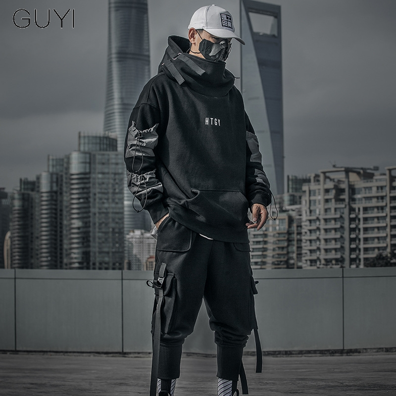 Letter Japan Style Hoodies Sweatshirts Men Harajuku Hip Hop Streetwear Pullover Casual Techwear Fluff Hoddies Male Hooded Top