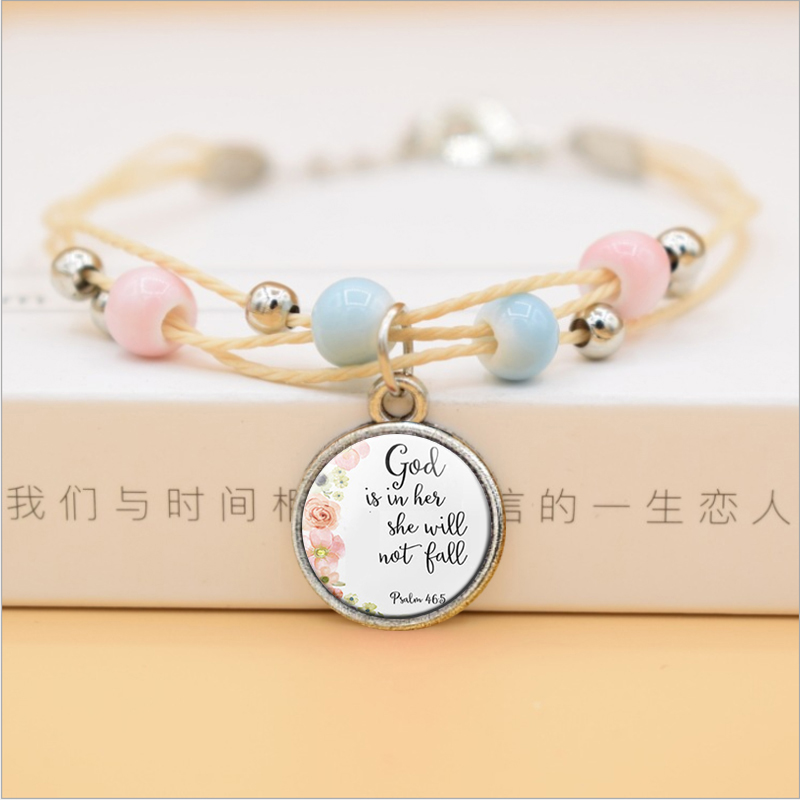 God Is In Her She Will Not Fall Bible Verse Faith Quote Bracelet Christian Glass Jewelry Flower Ceramic Beads Women Bangle image