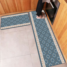 European luxury Blue bottom white geometric Kitchen mat Bedroom strip rug bathroom plush floor non-slip carpet customize