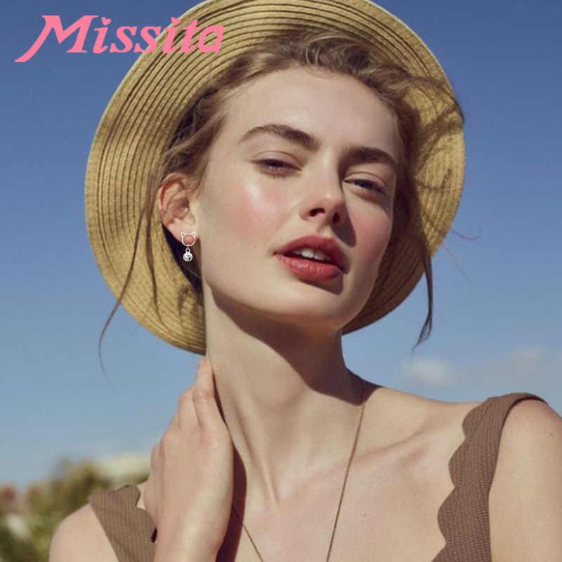 MISSITA 100% 2019 חדש אופנה חמוד פעמון חתול עגילים לנשים כסף תכשיטי מותג חברה מסיבת מתנת מכירה לוהטת