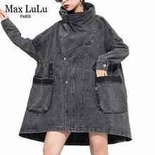 MAX Lulu 2019 เกาหลีแฟชั่นVINTAGEฤดูใบไม้ร่วงเสื้อผ้าสุภาพสตรีDENIM Trenchผู้หญิงคอยาวลำลองWindbreakerพลัสขนาด