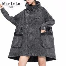 Max LuLu 2019 kore moda Vintage sonbahar giysileri bayanlar Denim siper kadınlar Turtleneck uzun palto rahat rüzgarlık artı boyutu
