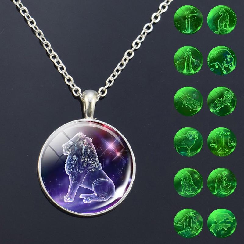 Светящиеся 12 знаков зодиака ожерелье стеклянный кулон созвездия модные ювелирные изделия женские светящиеся в темноте подарок на день рож...
