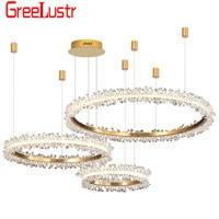 Modern Luxury Crystal Led Chandelier Ceiling Lamp Gold Design Combination Rings Chandeliers For Living Room Home Lighting Lustre