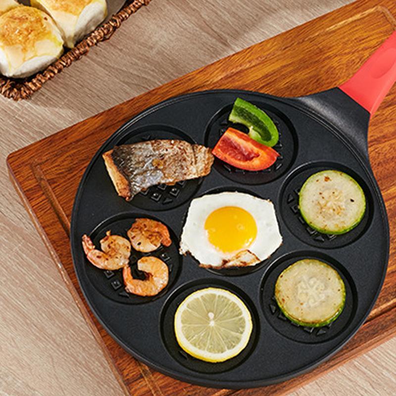 Улыбка блинная кастрюля удовольствие наслаждаться мини 7 отверстий блинная сковородка для омлета двойное антипригарное покрытие вафли блинчики сковорода