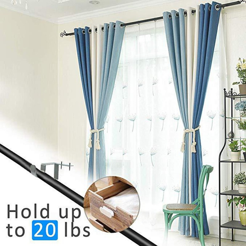 2pcs Curtain Rod Brackets Drill-free Curtain Rod Roman Pole Bracket