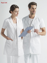 Doctors overalls white coat short sleeve mens and womens hospital style pharmacy clinic doctors clothing