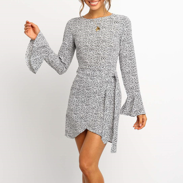 Women Leopard Bodycon Mini <font><b>Dress</b></font> Elegant Long Sleeve High waist <font><b>Open</b></font> <font><b>Back</b></font> <font><b>Dresses</b></font> Ladies Party Club Classic vestidos image